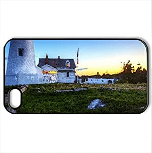A Beacon Of Light - Case Cover for iPhone 4 and 4s (Lighthouses Series, Watercolor style, Black)