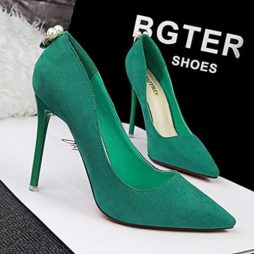 Inconnu Pumps Élégants Aiguille Chaussures Vert Hauts Escarpins Escarpin Talons Femmes Pointu Fermés Perlé rB1Zar8z