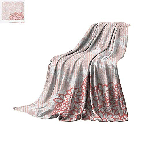 Daisy Jumbo (Coral Throw Blanket Antique Ornate Royal Checkered Floral Backdrop with Doodle Style Daisy Bouquet Warm Microfiber All Season Blanket for Bed or Couch 80