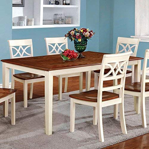 24/7 Shop at Home 247SHOPATHOME IDF-3552WC-T-7PC Dining-Room-Sets, 7-Piece, Antique White and Cherry