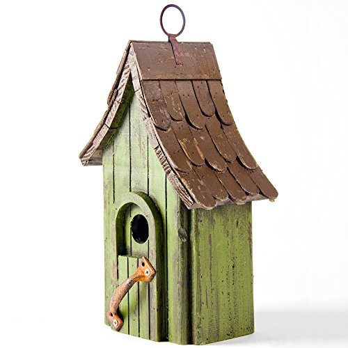 Glitzhome Tall Green Hand Painted Wood Birdhouse with Single Roof, 11.61
