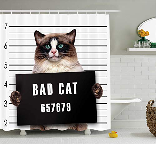- Ambesonne Cat Lover Decor Shower Curtain Set, Bad Gang Cat in Jail Kitty Under Arrest Criminal Prisoner Hangover Artsy Work, Bathroom Accessories, 75 Inches Long, Brown Black