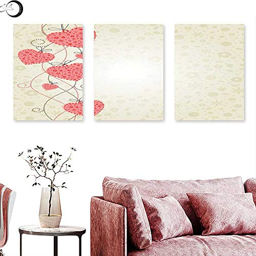 (J Chief Sky Romantic Wall hangings Abstract Motifs Filled Background and Heart Shapes Hanging from Dotted Lines Triptych Art Coral Beige Triptych Art Canvas W 20