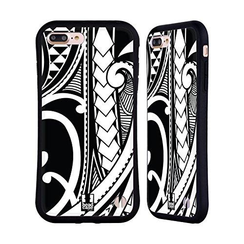 Head Case Designs Ornate Swirl Samoan Tattoo Hybrid Case Compatible for iPhone 7 Plus/iPhone 8 Plus (Best Samoan Tattoo Designs)