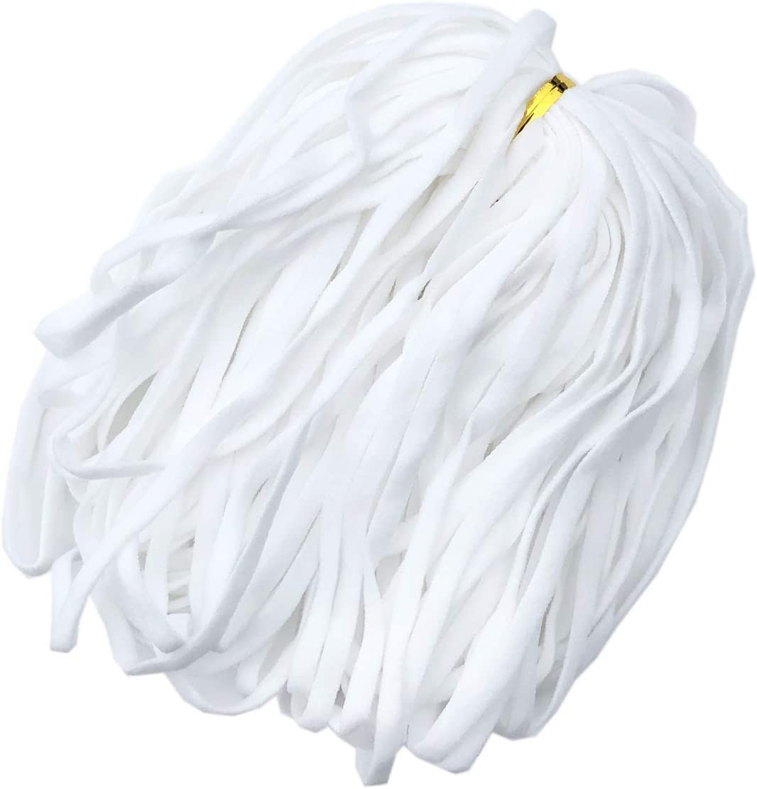 Earloop Cord HipGirl White Earloop Cord for Masks;Mask Elastic Bands for Sewing,Mask Elastic Cord;White Mask Band Cord Elastic by The Yard;Elastic for Sewing 5mm 1//4