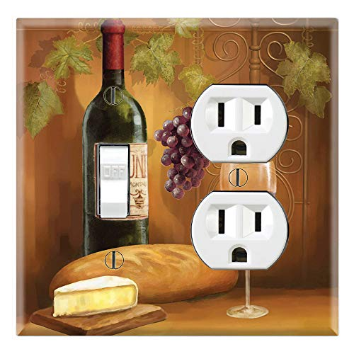 Graphics Wallplates - Wine Portrait - Toggle Outlet Combo Wall Plate Cover ()