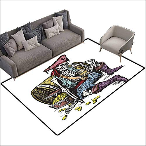 Floor Rug Pattern Pirate Skeleton Pirate Holding Mug of Beer Treasure Chest Gold Freebooter Sailor Corsair Quick and Easy to Clean W5' x L6'10 Multicolor
