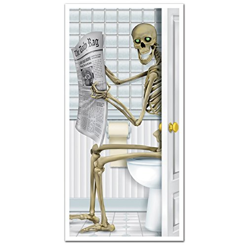 Club Pack of 12 Halloween Themed Skeleton Restroom Door Cover Party Decorations 5' -