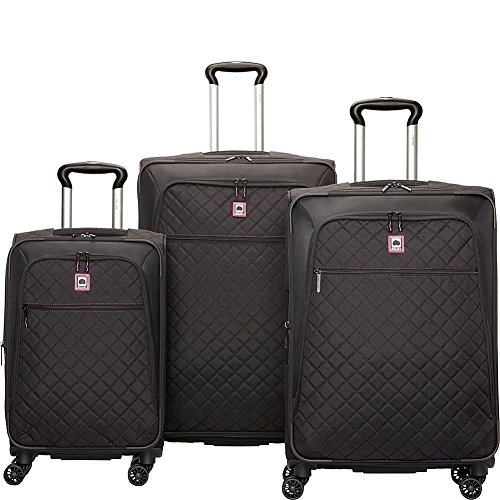 Quilted Luggage Set (Delsey Quilted 3 Piece Spinner Luggage Set - EXCLUSIVE (Black))