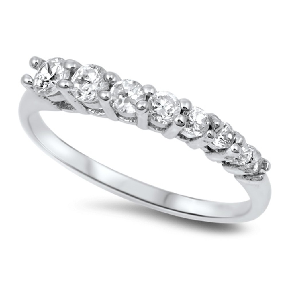 Journey Style Sterling Silver CZ Wedding Band Eternity Anniversary Ring (Size 9)