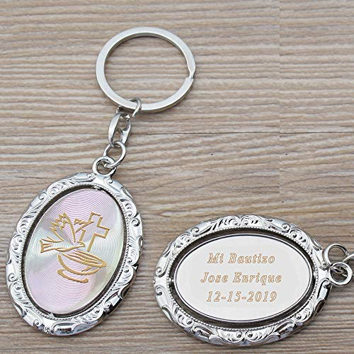 Personalized Spinning Baptism Keychain Favor (12 PCS) - Engraved Dove Cross Design Metal Key Ring Christening/Bautizo/First Communion Customized Gift for Guests with Gift Bag (GOL) -