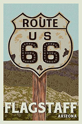 (Flagstaff, Arizona - Route 66 - Letterpress (16x24 Giclee Gallery Print, Wall Decor Travel Poster))