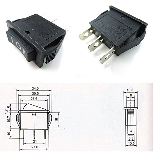 CESS Hull Shape Snap-in Rocker Switch (#14: 3-Pin ON-OFF-ON Switch,2-Pack) 14/3 Snap