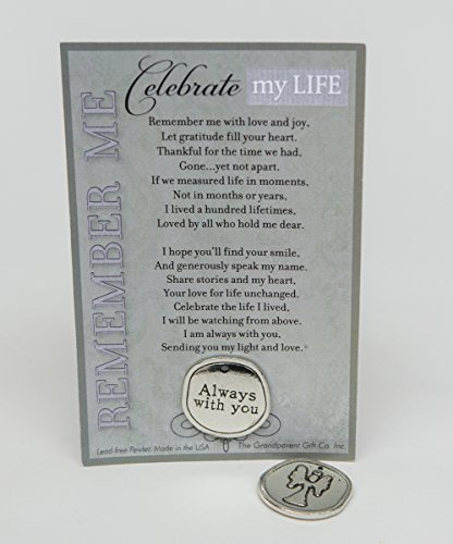 (Bereavement/Sympathy/ Remembrance/Memorial/Inspirational Keepsake Pewter Coin with Celebrate My Life Poem)