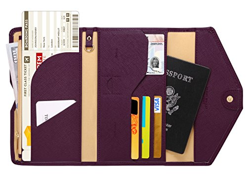 Zoppen Mulit-purpose Rfid Blocking Travel Passport Wallet (Ver.4) Tri-fold Document Organizer Holder, Wine Red/Burgundy - Inside Document Holder