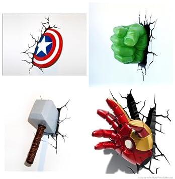 Amazon.com: Marvel 3 D Deco Thor, Hulk, Capitán América y ...