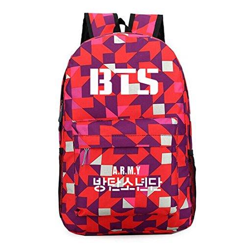 Partiss Unisex-Check-Printed beilaeufige Kpop BTS Tasche Rot