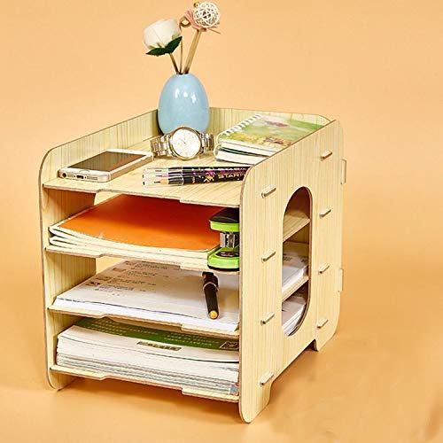 Collocation-Online Office Desktop File Holder Storage Box Wooden Multilayer Shelf Mobile Household Desktop Box,Black by Collocation-Online (Image #3)