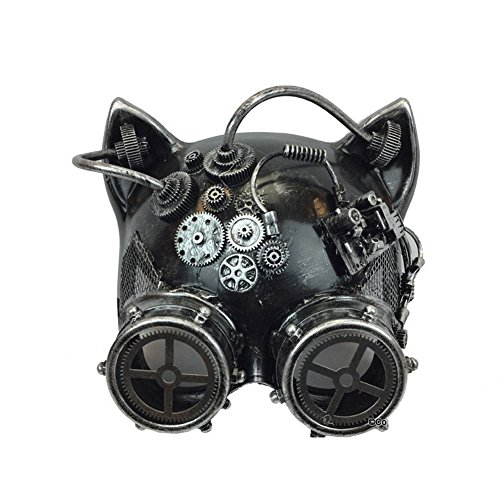 Halloween Steampunk Cosplay Cat with Goggles Face Mask, Silver, One Size 7in ()