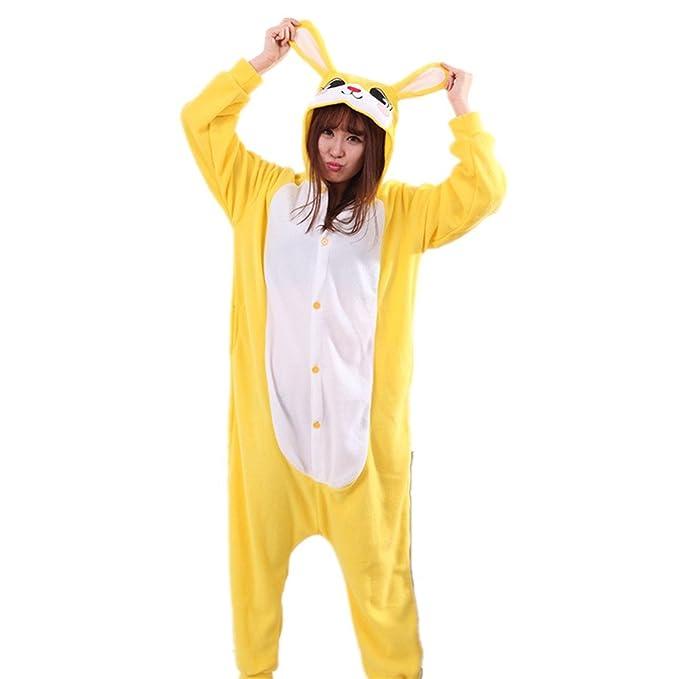 BOMOVO Pijama Ropa de Dormir Animal Disfraces Cosplay Halloween Adulto Unisex para Hombre Mujer de vellón