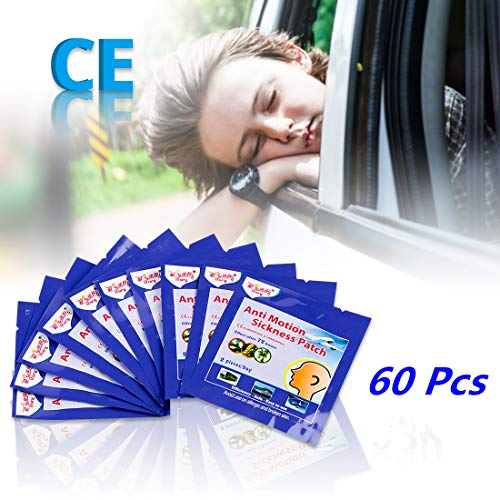 ifory 60 Pcs Motion Sickness Patches for Cruise, Car, Airplane, Travel, Sea Sickness Patches Behind Ear, Anti Nausea and Non - Patch Cruise