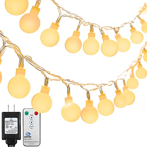Ball String Lights, Oak Leaf 41ft 100 LEDS Globe String Light Remote & Timer 8 Lighting Modes Warm White for Party, 3V Power Adapter