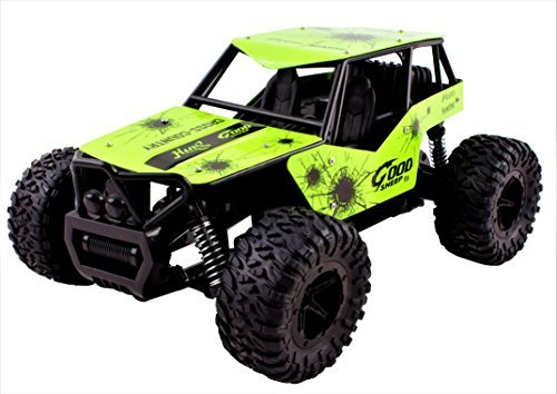 King Cheetah Turbo Diecast Body Remote Control RC Buggy Car Truck 2.4 GHz System Large 1:16 Scale Size RTR w/ Working Suspension, High Speed, Radio Control Off-Road Hobby Truggy Rechargeable (Green) (King Battery Rc)