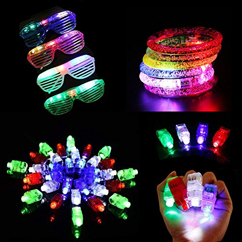 Lifbeier LED Light-up Toys Glow in the Dark Party Supplies - Include 40 Pack Led Finger Lights, 6 Pack Glow Bracelet, 6 Pack Glow Glasses for Birthday, Wedding, Children Toys