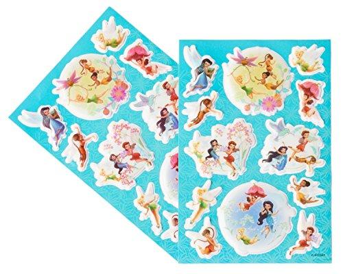 Fairies Glitter Sticker Sheets - Disney Fairies Sticker Sheets, Puffy, 2 Count,  Party Supplies