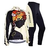 sponeed Women's Cycle Jersey Bike Clothing Gel Padded Fresh Long Sleeve Size XL US Multi