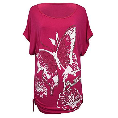 donna Top paillettes da T Nuovo a maniche Plus 8 Taglia Shirt Baggy stampa donna pipistrello nbsp; Uk Size da Loose Bwtq4wZxY