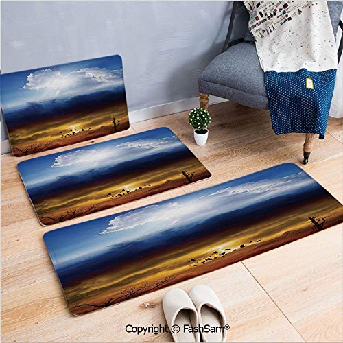 FashSam 3 Piece Non Slip Flannel Door Mat Sun and Dark Stormy Sky with Lightning Heaven and Hell Good and Evil Indoor Carpet for Bath Kitchen(W15.7xL23.6 by W19.6xL31.5 by W19.6xL59)