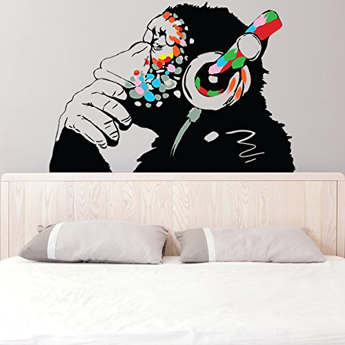(79'' X 55'') Banksy Vinyl Wall Decal Monkey with Headphones / Colorful Chimp Listening to Music Earphones / Street Art Graffiti Sticker + Free Decal Gift by Slaf Ltd. (Image #2)