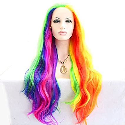 Cuerpo wave sintético de alta calidad larga resistente al calor peluca Fashional Colorful Drag Queen Piano
