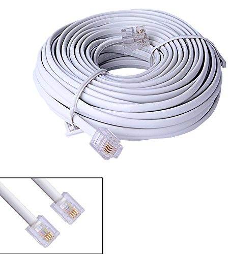 Rj11 6p4c Modular Telephone Cable - 10M 40ft RJ11 6P4C Modular Telephone Phone Cables Wire White