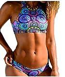 Walant Womens High Neck Swimsuit Print Padded Bikini Two Piece Swimwear Bathing Suit Tankini,Blue,Medium