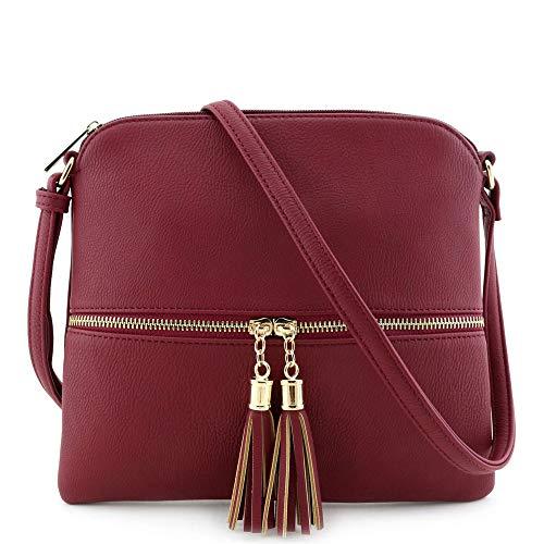 Lightweight Medium Crossbody Bag with Tassel Wine ()