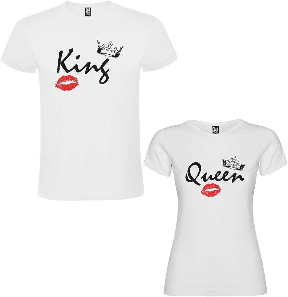 Pack de 2 Camisetas Blancas para Parejas, King B y Queen B Negro (Mujer Tamaño L + Hombre Tamaño S): Amazon.es: Ropa y accesorios