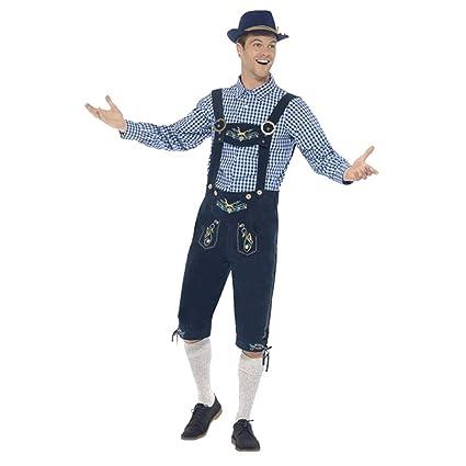 VEMOW Heißer Mann Oktoberfest Kostüm Original Lederhose bayerischen Bier Taverne Tops + Herren Pant Set + Hut