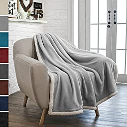 PAVILIA Premium Fleece Sherpa Throw Blanket | Super Soft, Cozy, Lightweight Microfiber, Reversible, All Season for Couch or Bed (Light Gray, 50 x 60 Inches)