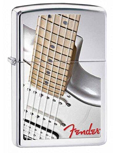Zippo Fender White Guitar Pocket Lighter, High Polish Chrome ()