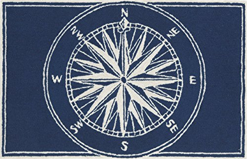 Liora Manne FTP34144733 Front Porch Whimsy Coastal Nautical Mariner Sailor Sea Compass Indoor/Outdoor Area Rug 30