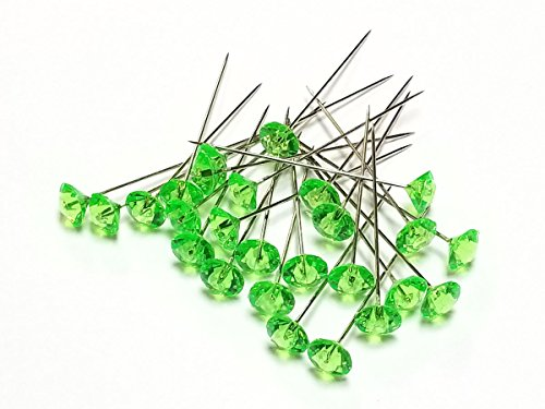 Apple Green Diamante Pins / pk - Gem Pins