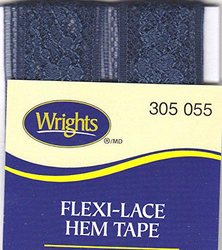 WRIGHTS NAVY BLUE (055) FLEXI-LACE HEM TAPE-3 YDS-REPAIR, CLOTHING, ()