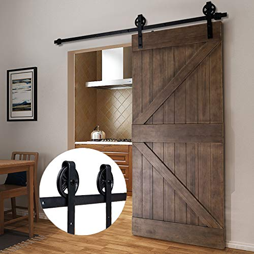 (Bonnlo 6.6FT Big Wheel Sliding Barn Door Hardware Kit for Closet, Garage, Kitchen, Interior & Exterior Track Door - Fit 36