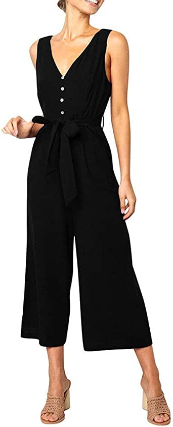 Fubotevic Women Casual Sleeveless Print Short Romper Jumpsuit with Pockets
