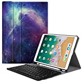 Fintie Keyboard Case with Built-in Apple Pencil Holder for iPad Air 2020 3rd Gen/iPad Pro 10.5' 2017- SlimShell Stand Cover w/Magnetically Detachable Wireless Bluetooth Keyboard, Galaxy
