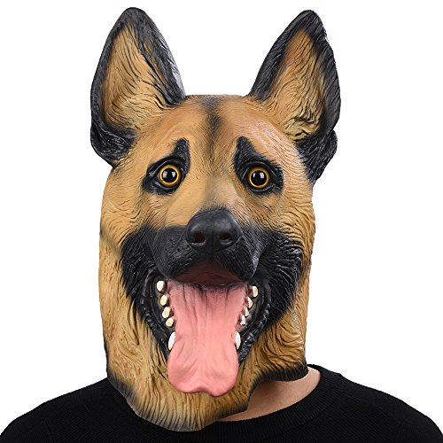 PARTY STORY German Shepherd Dog Latex Animal Head Mask For Halloween Novelty Costume -