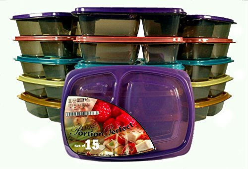 PORTION PERFECT Meal Prep Containers / Portion Control Containers / Bento Lunch Box Set, +40% Heavier Duty Safe BPA Free Plastic ~ 2YR WARRANTY ~3 Compartment Food Storage [Set of 15] for Adults&Kids (Portion Box Lunch Perfect)