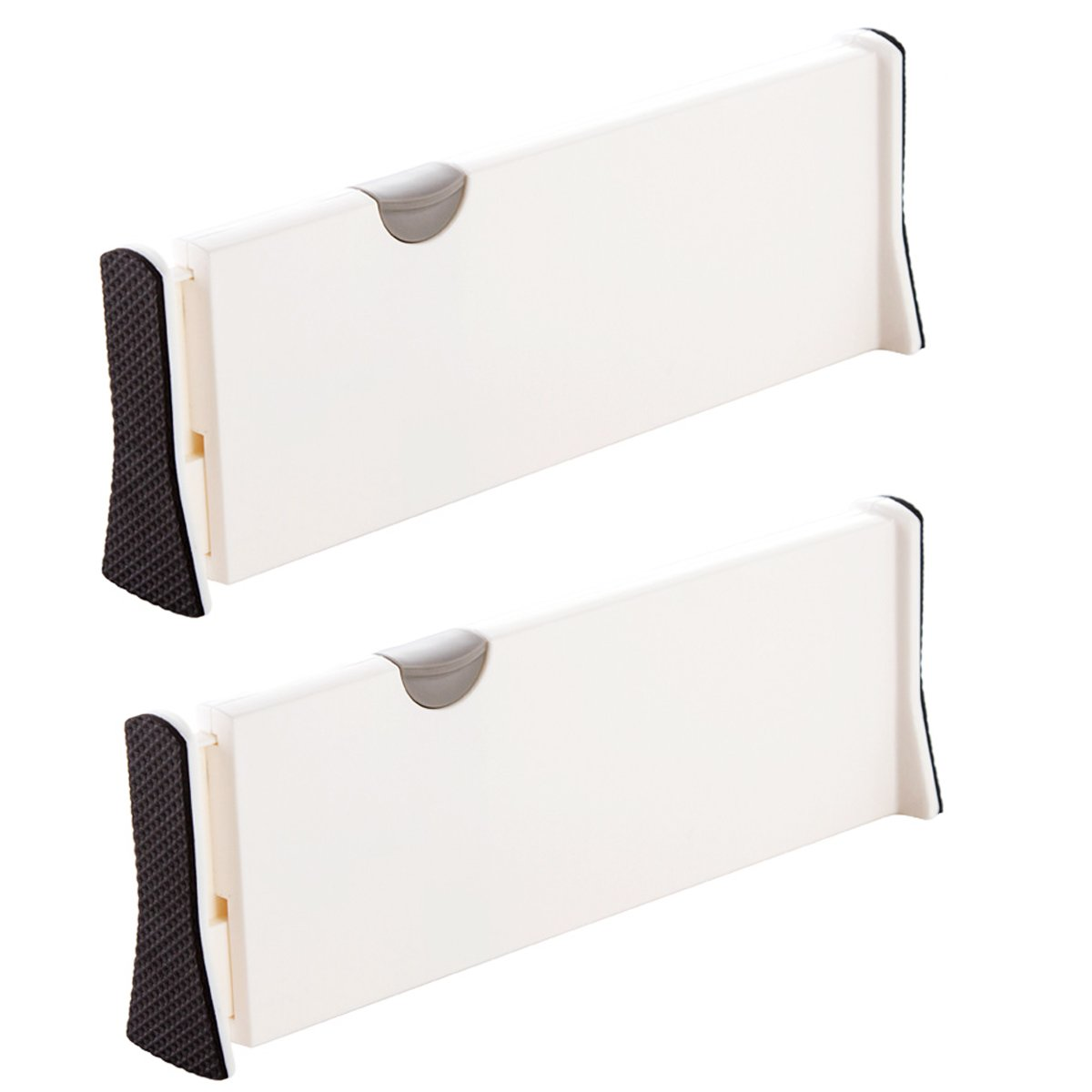 GADENT Adjustable Drawer Divider Large Expandable Plastic Separator Extra-Long Pack of 2, Great for Kitchen, Office and Dresser 2 PCS (14.7''- 21'')